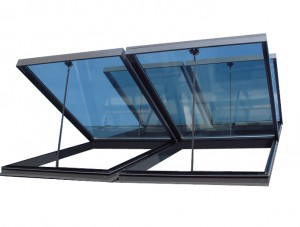châssis de verrière pneumatique type fireglass - désenfumage naturel en verrière - ouvrant de verrière