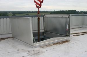Passage Machine Accès d'usine double vantail vérins à gaz
