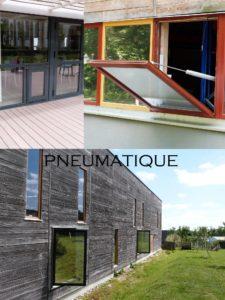 désenfumage naturel et ventilation naturelle en façade châssis de façade pneumatique ventelles co² ouverture seule intégrés soufflet de désenfumage