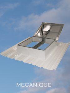 désenfumage naturel et ventilation naturelle en toiture mécanique lanterneau treuil exutoire de désenfumage mécanique